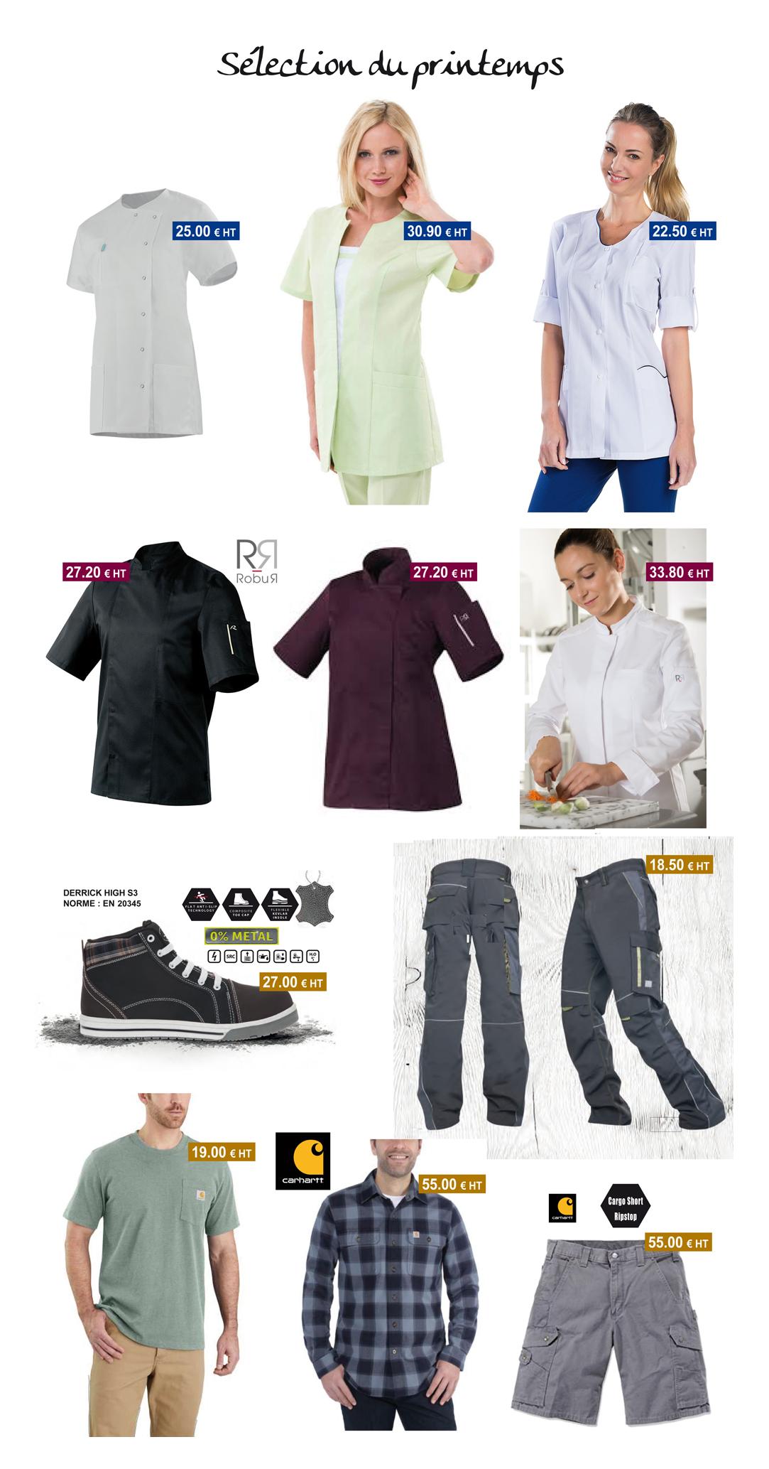 blouses médicales - vestes de cuisine - pantalons de travail - chaussures de sécurité