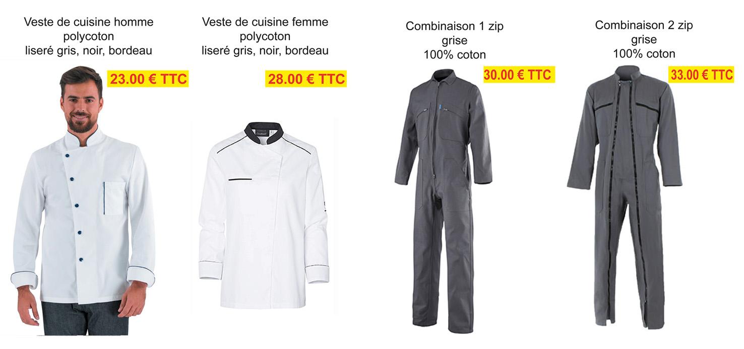 veste de cuisine, combinaison de travail, Valence, Drôme